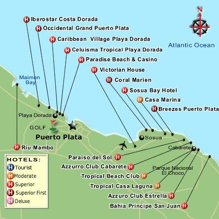 Карта Пуэрто-Плата с отелями