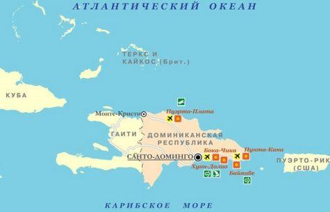 Пуэрто-Плата на карте Доминиканы