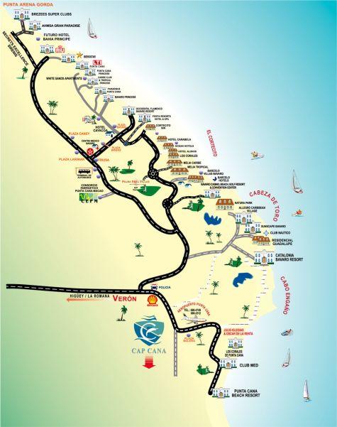 Карта Пунта-Кана с отелями