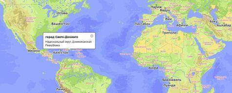 Санто-Доминго на карте Мира